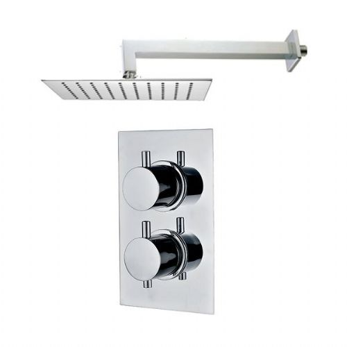 Abacus Emotion Thermostatic Round Concealed Shower Mixer With OverHead - Chrome